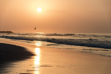 Amazing Sunset red waves at beach Salalah Oman 11