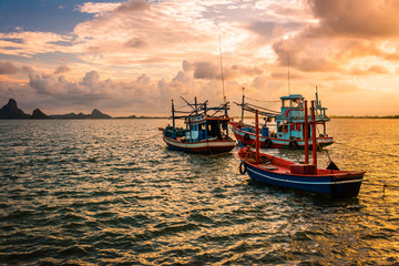Fishing boat  in the sea . Sea evening time background .Fishing boat  of Thailand