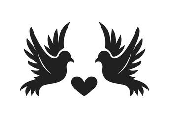 Couple Bird with Heart Shape