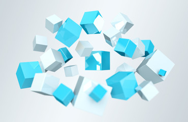 Floating blue and white shiny cube 3D rendering