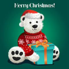 Bear Stuffed Toy Celebrating Christmas