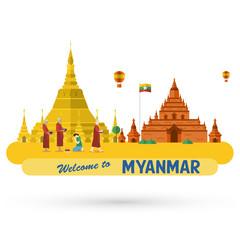 Flat design, illustration of Shwedagon Pagoda and Bagan ancient city