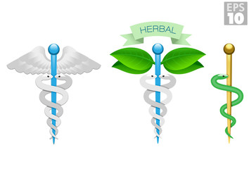 Herbal caduceus, Rod of Aesculapius, Medical icons, snake, rod and wings