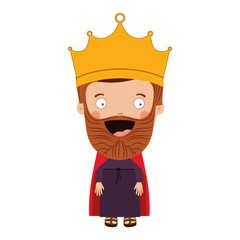 colorful king with crown and beard vector illustration