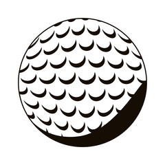 silhouette monochrome with golf ball vector illustration
