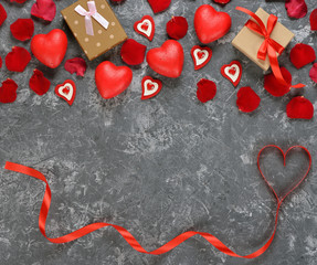 Red ribbon and decorative heart