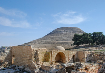 Ruins of Herodium or Herodion, the fortress of Herod, the Great,