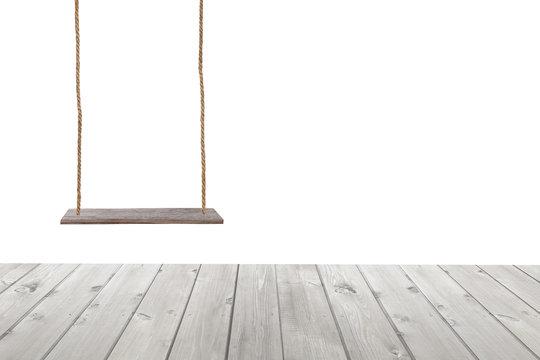 wooden swing and wood floor.