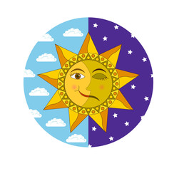 Solstice, smiling sun and sleeping moon in the circle of daytime blue sky and night indigo sky, vector