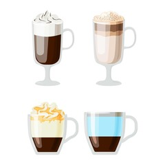 Coffee cups different cafe drinks