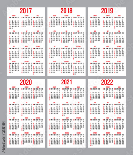 vector set of calendar grid for years 2017 2022 for