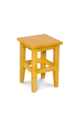 Wooden stool isolated by hand made on white background, clipping path.