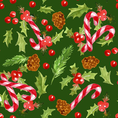 Christmas holly leaves and berries, pine cones and candy canes on a dark green background. Watercolor illustration. Seamless pattern.