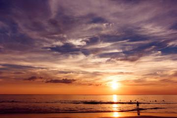 Tropical sunset at sea coastline