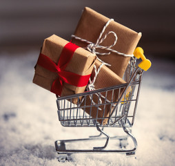 Christmas gifts and shopping cart