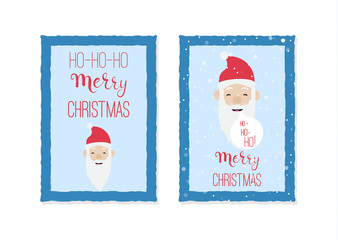 Christmas card templates with santa claus face made in vector