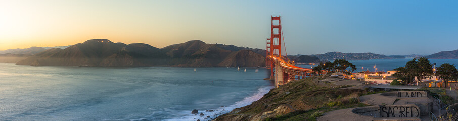 Golden Gate Bridge after sunset Wall mural