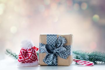 Christmas gift box and candy