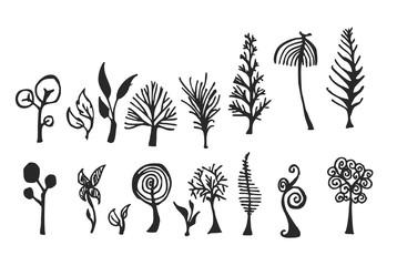 Set of tree doodles vector eps10