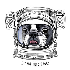 French Bulldog portrait in a Astronaut's Helmet. Vector illustration.
