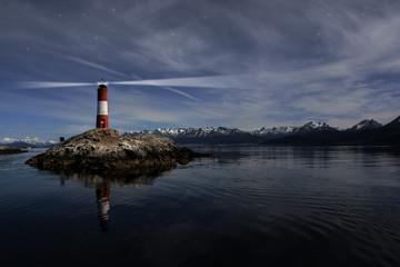 Garden Poster Lighthouse Lighthouse Les eclaireurs in Beagle Channel near Ushuaia