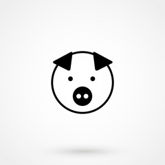 pig icon vector flat