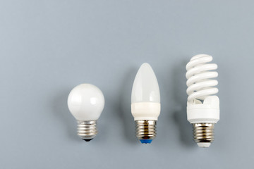 tungsten bulb, LED bulb and  fluorescent bulb