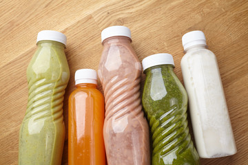 bottles of juices and vegetable smoothies healthy food