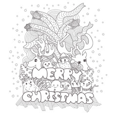 doodle style of christmas greetings card and background, hand drawn vector illustration of merry christmas ..