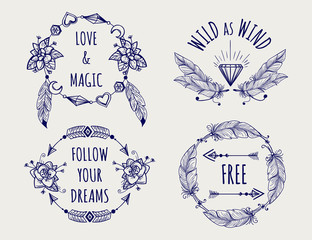 Boho tribal style logo set with feather hearts arrows and lettering vector