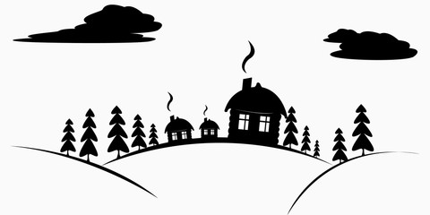 Vector cottage in the forest, shadows, path, forest, icon, symbol