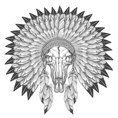 Buffalo skull sketch with indian feather headdress isolated on white background vector