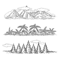 Doodle hand drawn vector landscapes with mountain forest and palms. Popular rest style vector