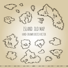 Islands. Fragment of old pirate map. Hand drawn vector sketch.