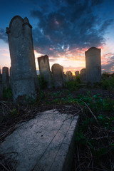Sunset in old jewish cemetery. Chernivtsi, Ukraine