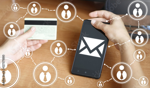 Businessman Keep Smart Phone With Mail Sign Smartphone With