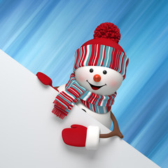 3d render, digital illustration, snowman banner, Christmas card, blank banner, red holiday background