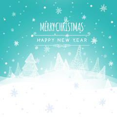 Merry Christmas Landscape, Christmas greeting card light vector background. Merry Christmas holidays wish design. Happy new year message. Vector illustration.
