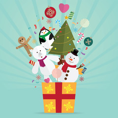 Christmas tree and decoration in gift vector