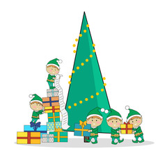 Christmas Elves packing presents near tree