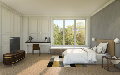 3d rendering nice bright contemporary bedroom with daylight from window