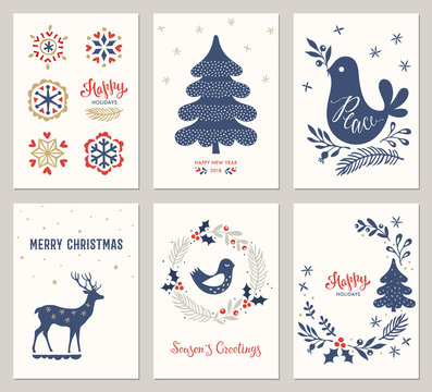 Merry Christmas and Happy Holidays card templates with New Year tree, deer, snowflakes, dove, bird andwreath. Vector illustration.