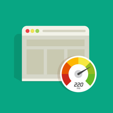 Website speed loading time vector icon isolated on color background, web browser with speedometer test showing fast good page loading speed time illustration, seo analyzer, search engine optimisation