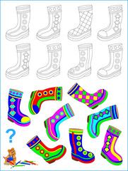 Logic puzzle for children. Need to find pair of each boot and paint them by identical pattern. Vector cartoon image.