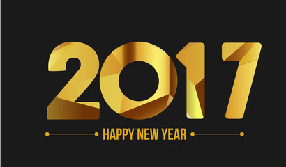 Happy new year 2017. Year 2016 vector design element. Low poly illustration. Gold design. Merry Chrstmas Background for dinner invitations, festive posters,promotional depliant, greetings cards.