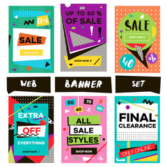 Media banners for online shopping. Design for mobile website banners, posters, email and newsletter. Vector creative sale banners template with hand drawn elements. Eye catcher banners set.