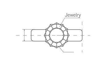 Drawing Jewels Ring Vector Illustration