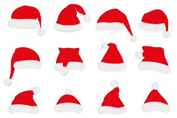 Santa Claus red hat set. Santa hat, Santa red hat isolated on white. New Year 2016 santa red hat . Santa head hat illustration. Santa Christmas hat decoration illustration