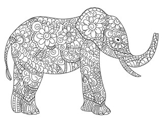 Elephant Coloring book vector for adults