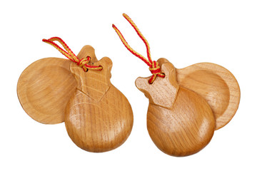 A pair of  wooden spanish castanets